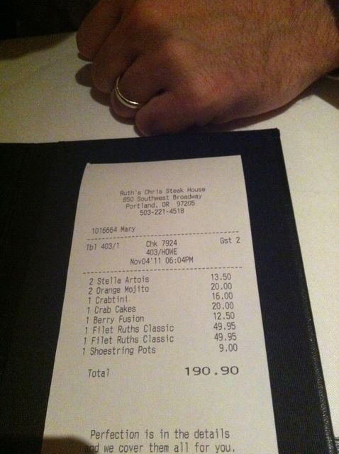 Pricing For Ruths Chris Steak House