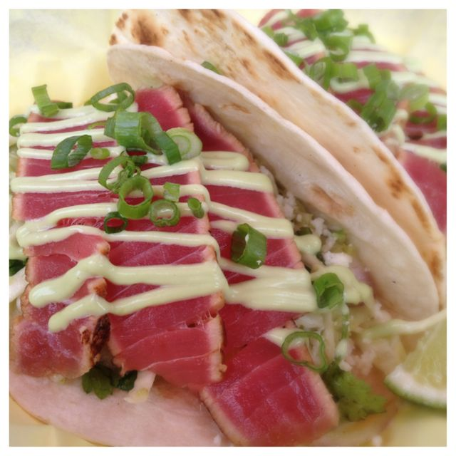 Ahi Tuna Tacos at the Fishbox food cart.