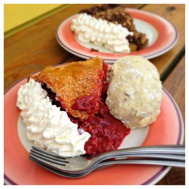 Raspberry Rhubarb pie with wedding cookies on the side