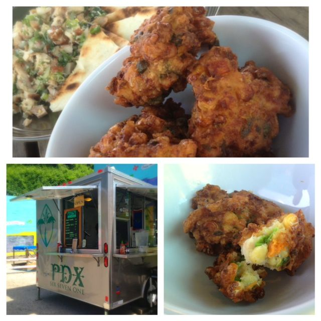 Shrimp Fritters with corn, peas and carrots and of course shrimp.