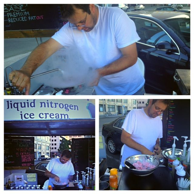 Liquid nitrogen ice cream made right before your eyes!