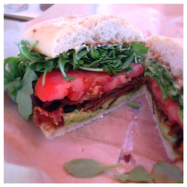 Bacon, lettuce, tomato and avocado sandwich from Retrolicuous