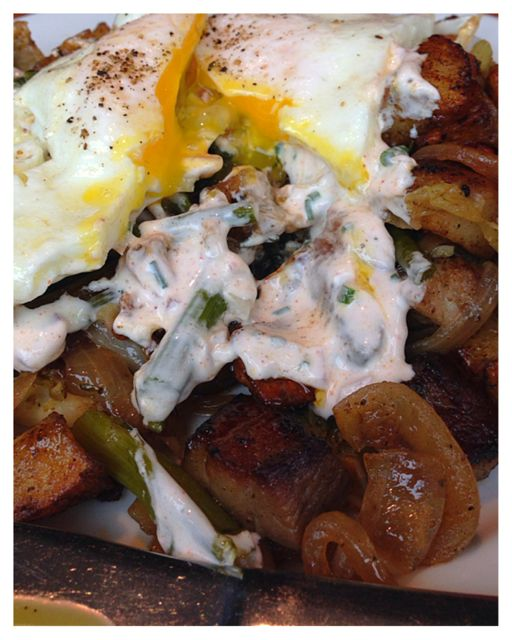 Tasso Hash with onion sour cream.