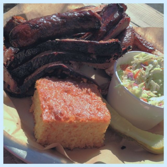 Sampler Platter from Pine Shed Ribs & Barbecue