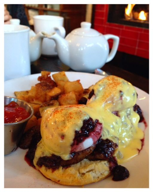 Eggs Benedict with Berry Compote and Pork Tenderloin
