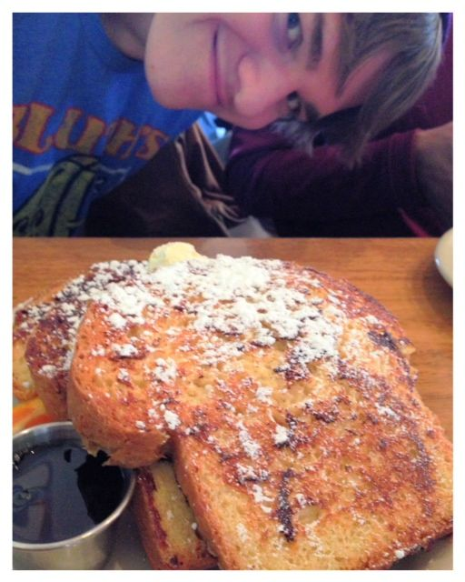 Literally french toast as big as your head at Helser's on Alberta
