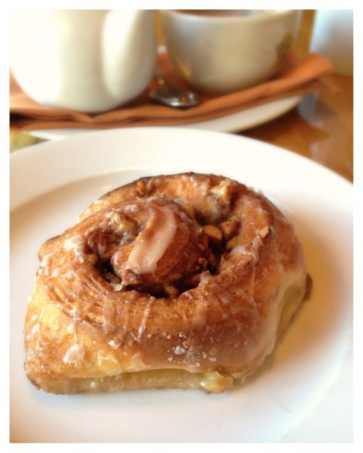 Cinnamon roll right out of the oven at Lucca