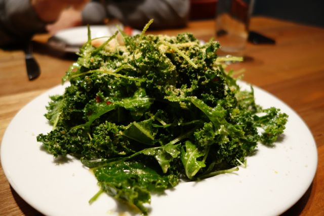 Kale Salad with honey lemon vinaigrette.
