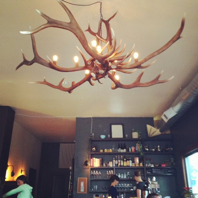 The antler chandelier makes a statement at Trinket.