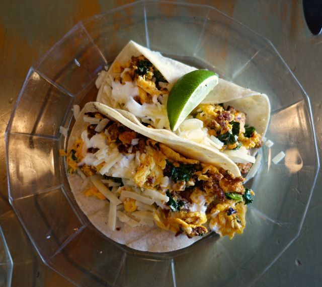 Chorizo and eggs tacos