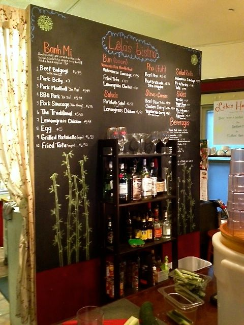 Menu and drink options from Lela's Bistro
