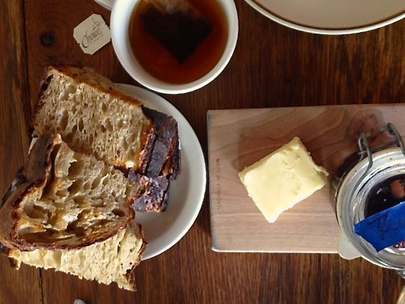 Huge toasted bread with delicious jam