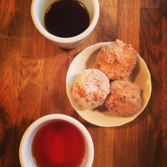 A little sweets with a coffee and tea