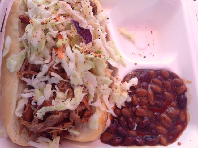 Pulled Pork with side of slaw and beans