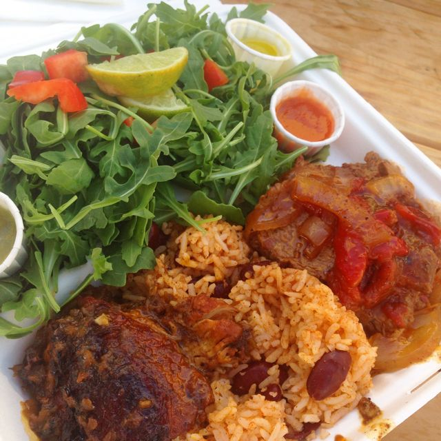 Chicken and Tri tip stead from Love Belizean. Get the combo!