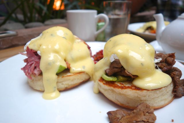 This is the largest Eggs Benedict I have ever tried to eat.