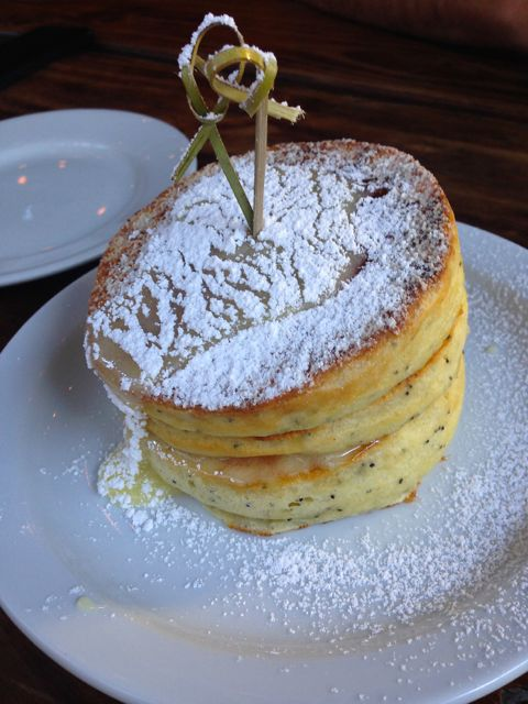 Poppy Seed pancakes with lemon curd. Don't miss these.