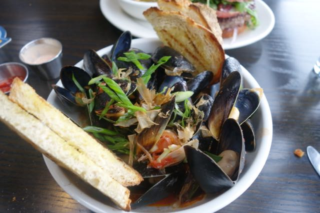 Mussels from Ecliptic Brewing. This is not your typical bar food.