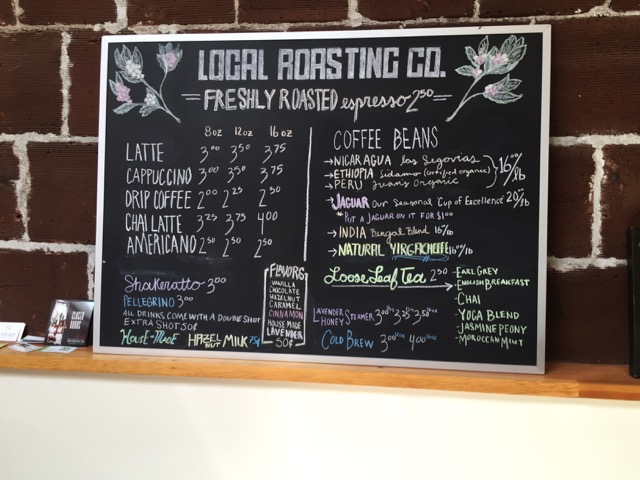 Menu at Local Roasting Company