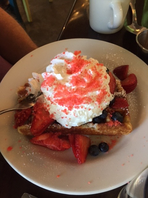 Not just any waffle. This one was topped with Pop Rocks