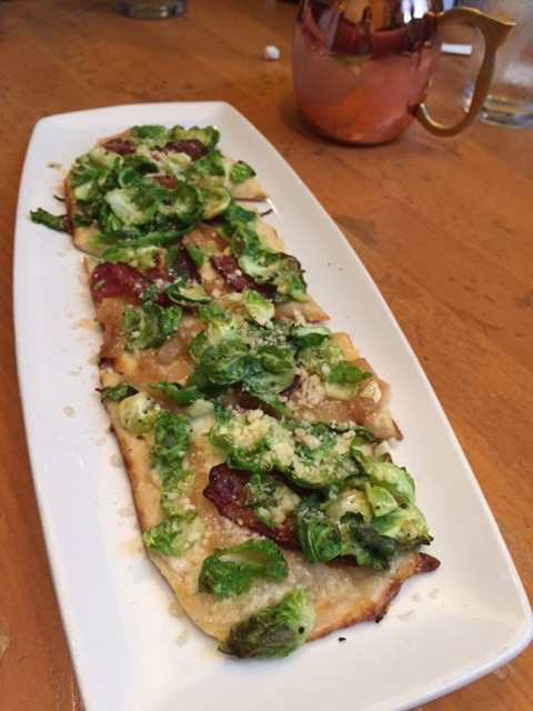 Brussel sprout and bacon flat bread